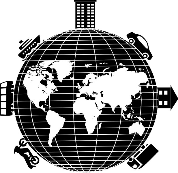 Globe with homes and transportation between