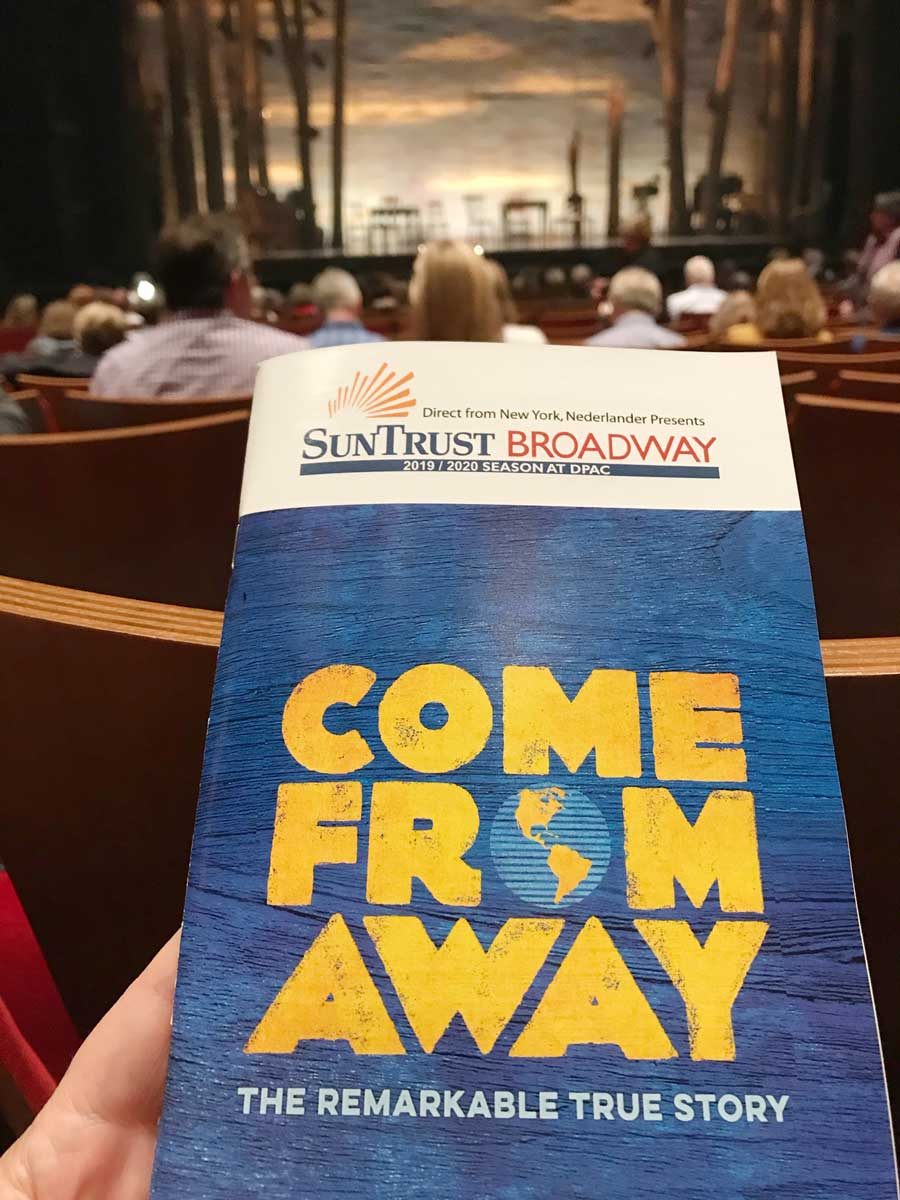 Bill book of Broadway show Come Far Away seen at the Durham Performing Arts in Durham NC